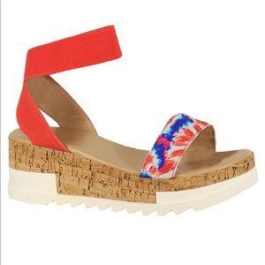 Tie dye print wedge flat sandals